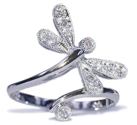 Diamond Dragonfly 14K White Gold Ring<------I want this so baaaaad!