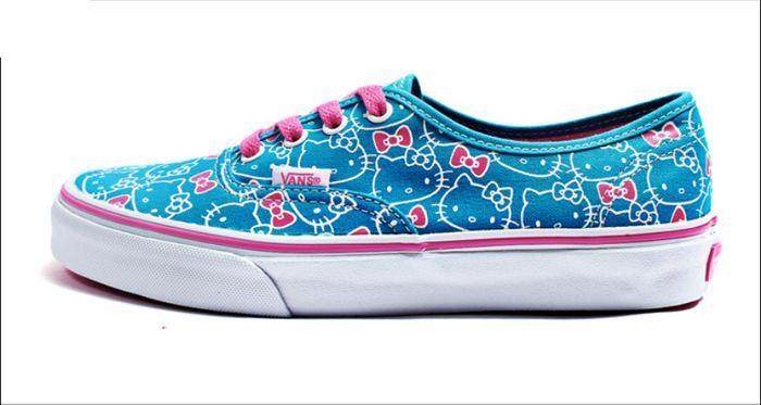 Blue Pink Vans Hello Kitty Printed Canvas Shoes Sale [vans00040] - $78.12 : cheap vans shoes for men, buy vans skate shoes women online sale