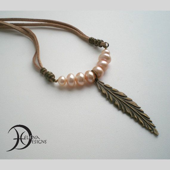 Real pearl necklace Feather necklace Ethnic by Helenadesignsart