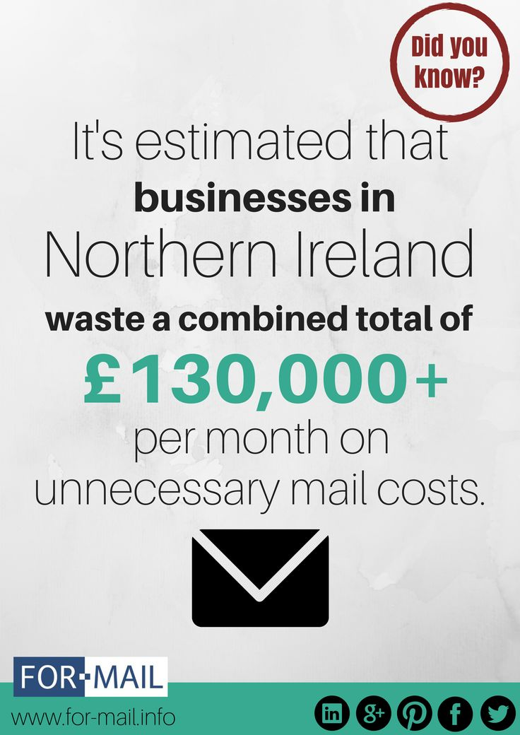 From a recent study by Ofcom (2014) detailing the amount of letters businesses in Northern Ireland send per month, we've estimated that £130,000+ is wasted on unnecessary costs. Instead of using stamps or a franking machine you could be saving money by using a Hybrid Mail Solution. Check out For Mail as a solution: www.for-mail.info #NorthernIreland #HybridMail