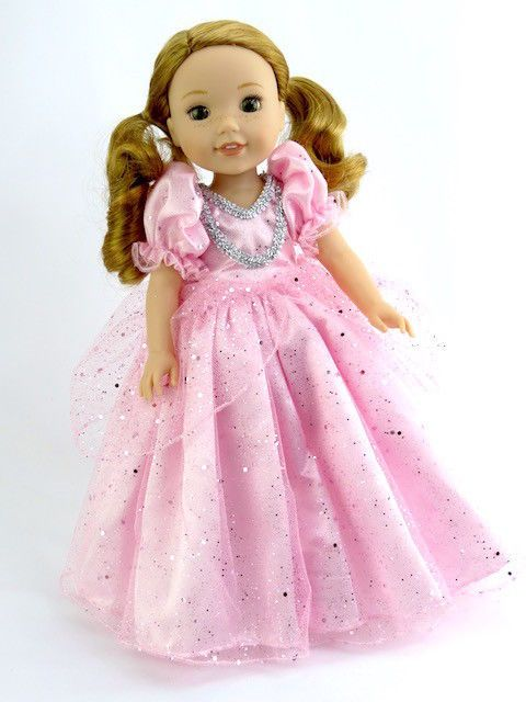 "Pretty Pink Princess Dress Fits Wellie Wishers 14.5"" American Girl Clothes"