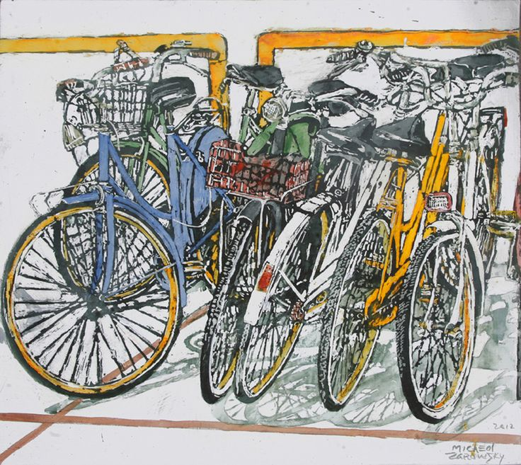 "lido bikes (75) 16"" x 18"" x 1 3/4"" micheal zarowsky / Mixed media (watercolour / acrylic painted directly on gessoed birch panel)  Available $550.00"