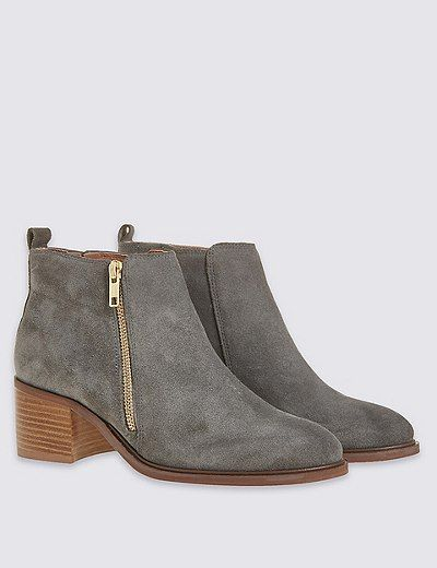 Suede Block Heel Ankle Boots | Marks & Spencer London