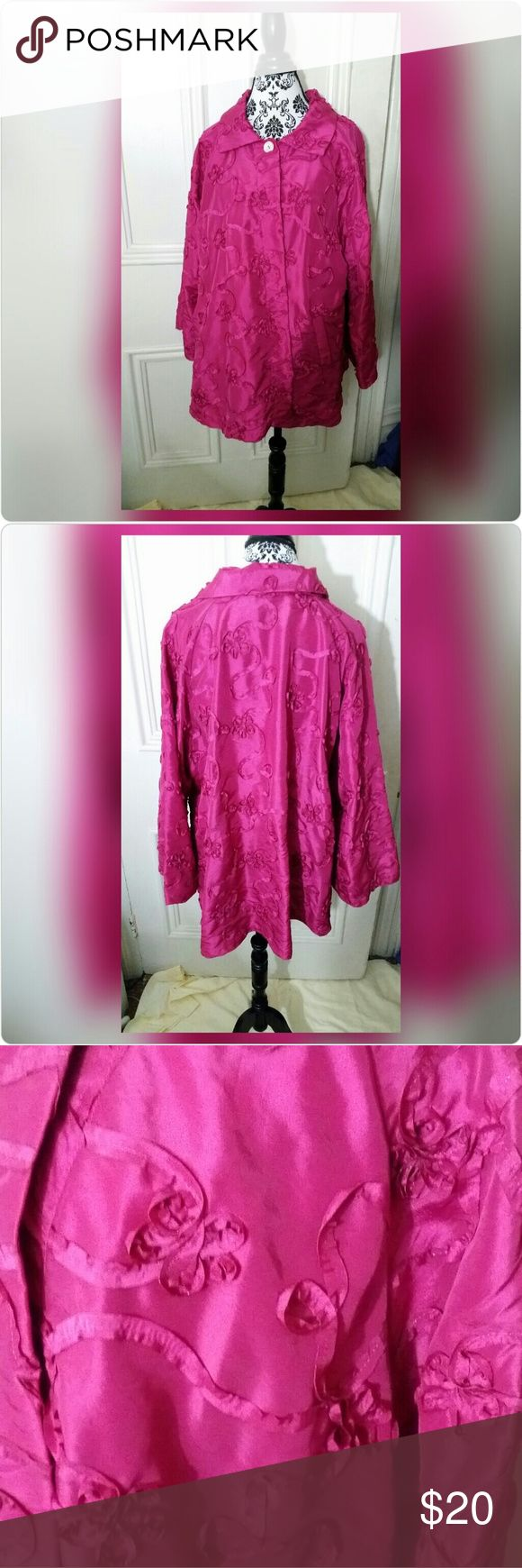 """Fuchsia Dressy Jacket with Ribbon Embroidery Heydari Size  1X  Beautiful bright pink, lightweight dressy jacket.  Single button closure at the neck Decorated with stunning ribbon embroidered applique embellishments that form flowers and  whimsical swirls. 100% polyester 30"""" long, 25"""" across the bust when laid flat Great for any dressy occasion or even date night! Heydari Jackets & Coats"""