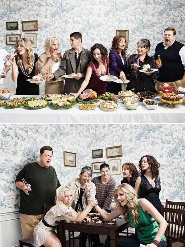 Where has this picture been all my life? Roseanne cast today, complete with Battle of the Becky's! My god I loved this show when I was little...