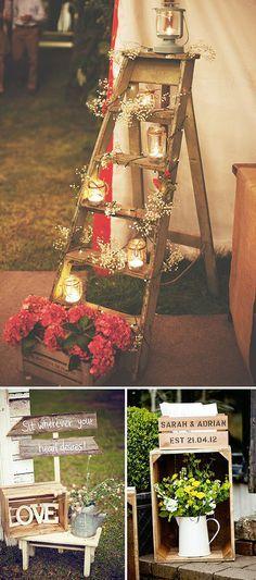#Ideas de #decoración de estilo rústico para bodas. #weddingplanner