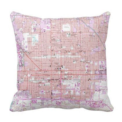 Vintage Map of Phoenix Arizona (1952) 2 Throw Pillow - antique gifts stylish cool diy custom