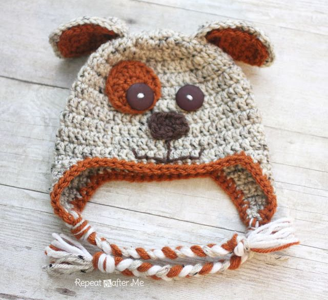 Crochet Puppy Hat Pattern - Repeat Crafter Me.  Can be done without face and using different colours.