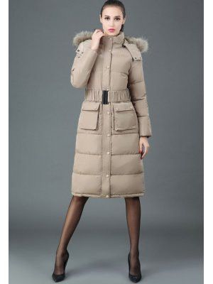 Beige long puffy coat with hood