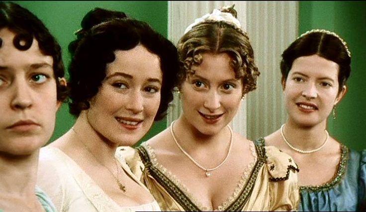 Lucy Briers (Mary Bennet), Jennifer Ehle (Elizabeth Bennet), Susannah Harker (Jane Bennet) & Lucy Scott (Charlotte Lucas) - Pride and Prejudice, (TV Mini-Series, BBC, 1995) #janeausten