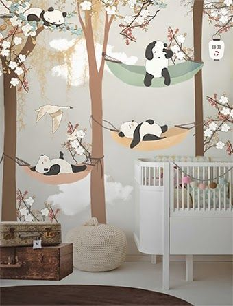 little hands: Little Hands Wallpaper Mural - Sleeping in the trees