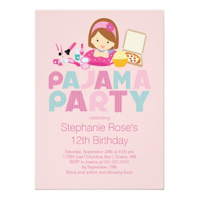 The 1222 best girl birthday invitations images on pinterest girl cute tween pajama birthday party invitation filmwisefo
