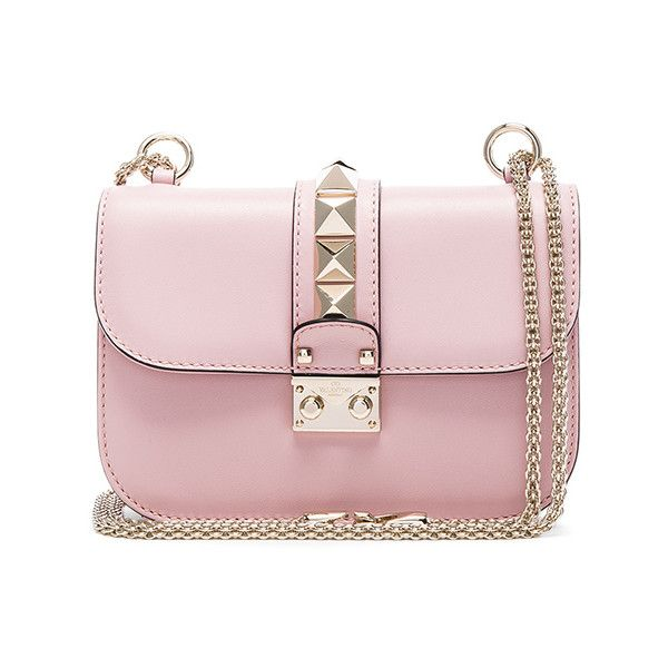 Valentino Small Lock Shoulder Bag ($2,250) ❤ liked on Polyvore featuring bags, handbags, shoulder bags, handbags shoulder bags, pink shoulder handbags, pink leather purse, purse shoulder bag and pink shoulder bag