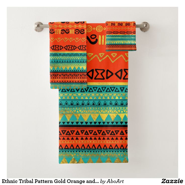 Ethnic Tribal Pattern Gold Orange and Teal Bath Towel Set