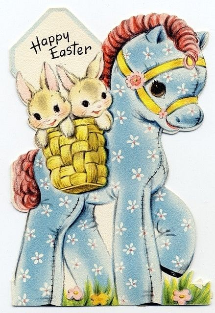 vintage Easter pony & bunnies