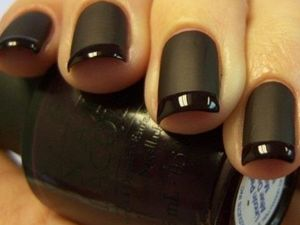 Matte and gloss french manicure.  The goth in me likes this.