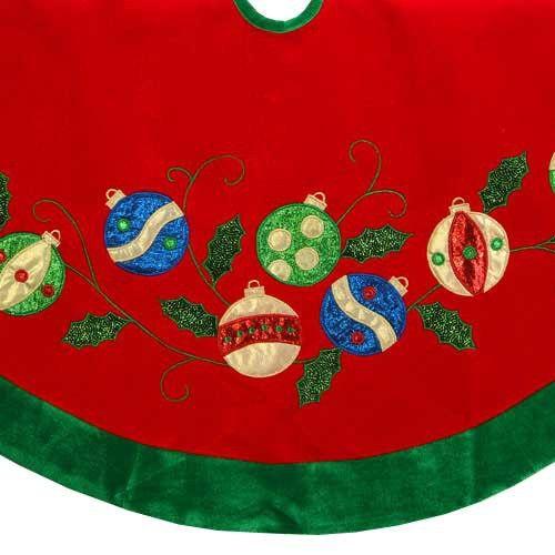 """48"""" Red Velvet Christmas Tree Skirt with Ornament Applique"""