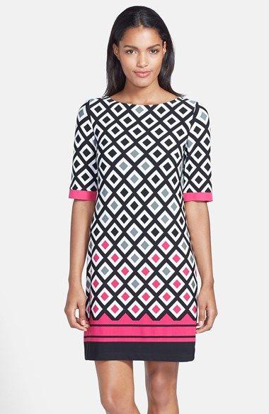 Eliza J Diamond Print Jersey Shift Dress (Regular & Petite) available at #Nordstrom