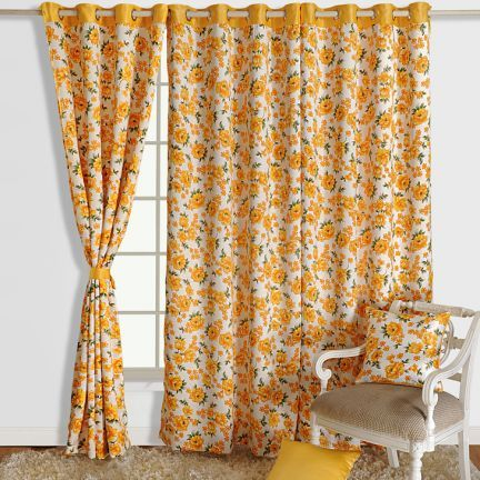 Swayam Yellow And White Premium Printed Blackout Curtain - Premium curtains can help you tweak the look of your living room in style. This printed curtain looks bright in white and yellow and is made of 80% blackout.
