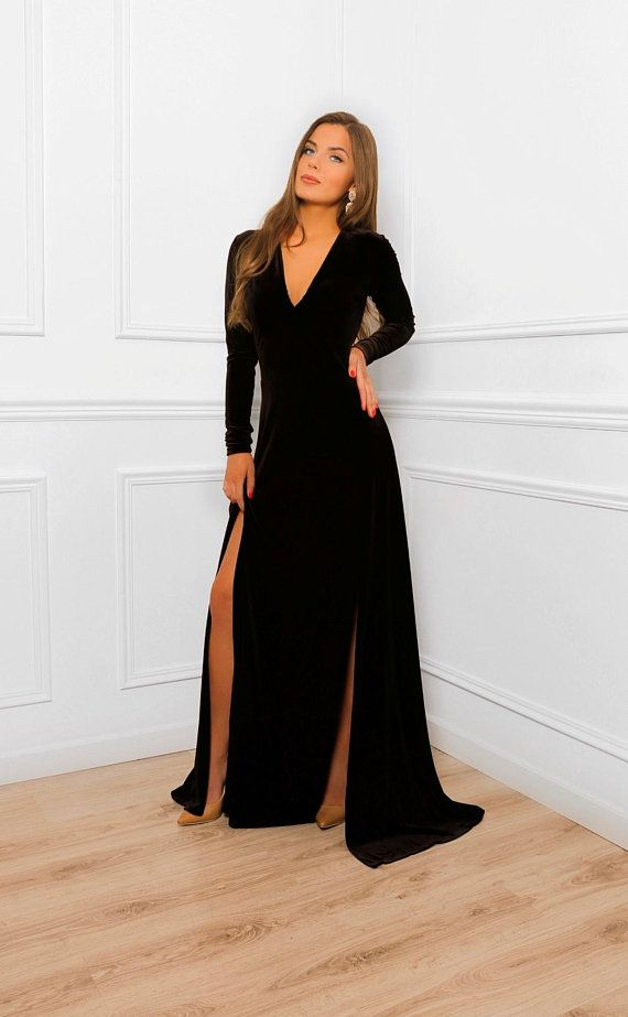 Black Velvet Double Slit Maxi Dress Long A Line Dress V Neck Long