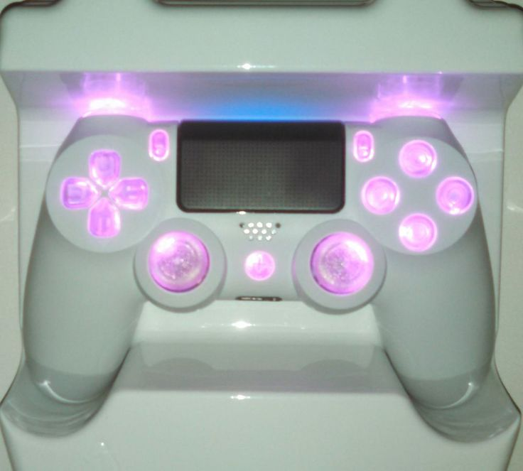 White PS4 Controller Custom Pink LED Mod