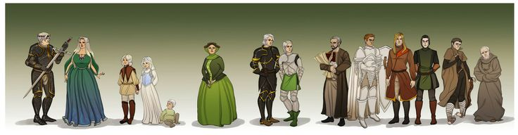 The Greens from The Princess and the Queen by Enife.  Aegon II Targaryen, Helaena Targaryen, Jaehaerys Targaryen, Jaehaera Targaryen, Maelor Targyen, Alicent Hightower, Aemond Targaryen, Daeron Targaryen, Otto Hightower, Ser Criston Cole, Tyland Lannister, Jasper Wylde, Larys Strong and Grand Maester Orwyle.