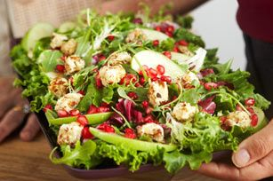 Mixed Green Salad with Warm Cream Cheese 'Croutons' Recipe - Kraft Recipes