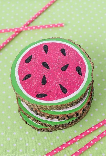 wooden watermelon coasters, painted furniture, repurposing upcycling