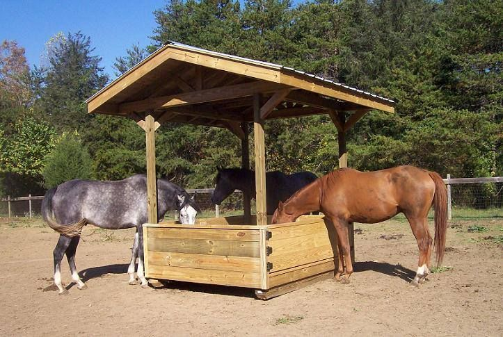 If I did not already own a Hayhut, I would build this.  Feeds one round bale or six to eight square bales. All treated wood, solid roof sheathing, keeps hay off the ground, virtually eliminates waste and spoilage. Every edge is chamfered for horse safety. Built on skids, the unit is completely portable, so I can move it to fresh ground or another field anytime, pulling it with a pickup truck. It wasn't cheap, but it has paid for itself in savings in hay.