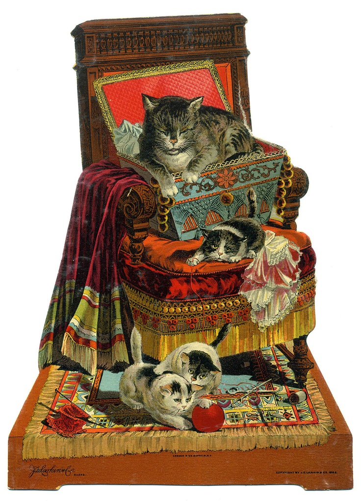 1880s Wonderful Store Display Sign Mother Cat Kittens J L Larkin Co |