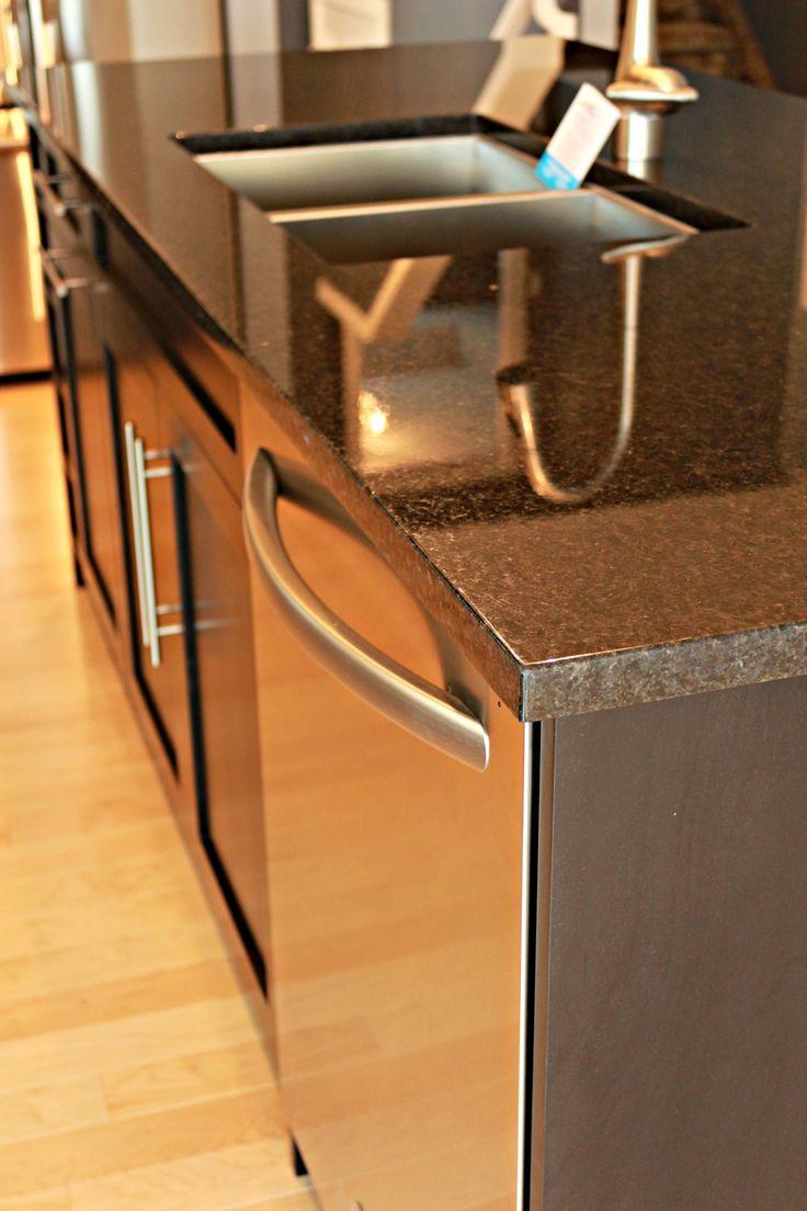Dark Granite Counter Tops, Stainless Steal Appliances, Dark Cabinets, laminate wood flooring