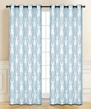 creative home blue isabella window panel set of two window
