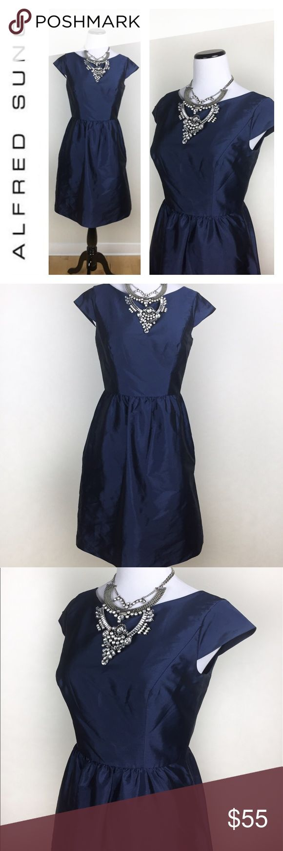 ALFRED SUNG NAVY METALLIC COCKTAIL DRESS SZ8 Elegant and gorgeous Alfred Sung navy metallic cocktail dress! Pre loved In mint condition, no holes or stains, minimal to no signs of wear. Perfect for that cocktail party, homecoming or wedding! Love it? Make an offer! Questions? Ask me 😉💖 comes without necklace ALFRED SUNG Dresses
