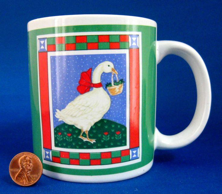 Holiday Mug Christmas Goose With Basket Ribbons Retro Stoneware 1980s Christmas Checker Board by RuthsBargains on Etsy