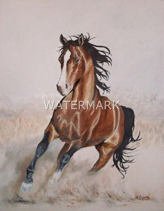 Galloping horse , original oil painting on canvas 18x14 inch. FREE SHIPPING $400.00 USD