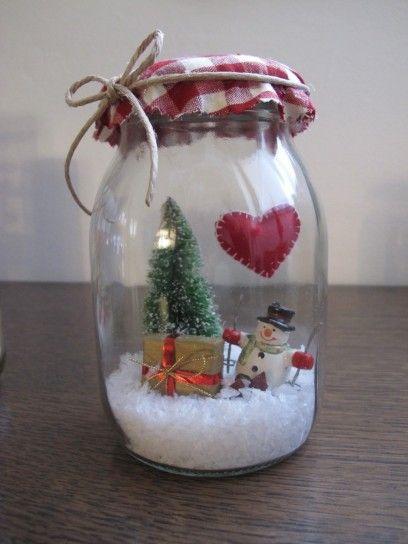 Barattolo natalizio - Paesaggio natalizio per decorare i barattoli di vetro di Natale.