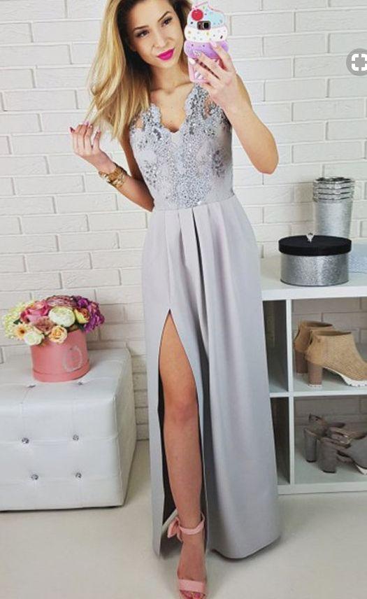 elegant prom dress with beading, fashion grey chiffon #prom #promdress #dress #eveningdress #evening #fashion #love #shopping #art #dress #women #mermaid #SEXY #SexyGirl #PromDresses