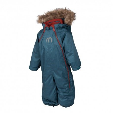 Baby snowsuit with two zippers, legion blue Herringbone, Minymo