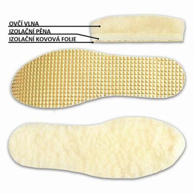 Vložky do topánok s ovčou vlnou a izolačnou fóliou