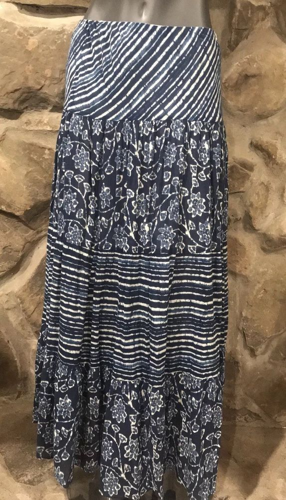61d31caaa27 Chaps by Ralph Lauren long Maxi Skirt Blue White Medium