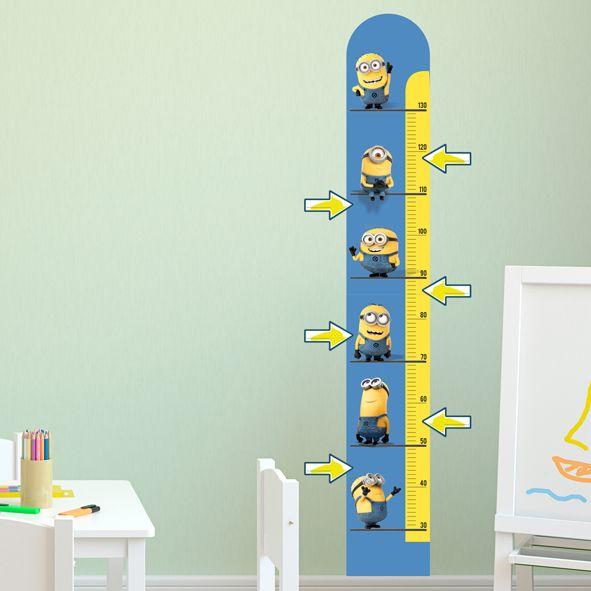 Samolepka na zeď Mimoni metr 40 x 132 cm. Krásný metr s mimoni, sledujte přírůstky ratolestí po centimetrem :)