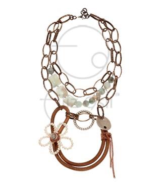 Akuamarin taşlı deri kolye / Leather necklace with aquamarine stones