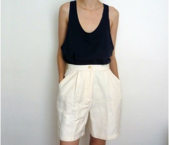 High Waisted Shorts Linen / Silk Small by llllllllllll on Etsy, $42.00