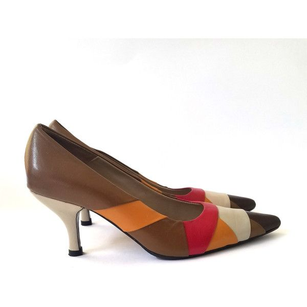 VERO Vintage Brown Orange Red Tan high heel pump shoes Multi Color... (25 CAD) ❤ liked on Polyvore featuring shoes, pumps, heel pump, orange shoes, red shoes, red heel pumps and colorful pumps