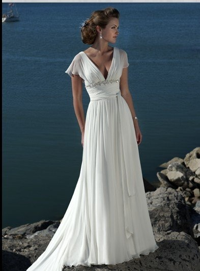 This would be very nice, as long as it comes in ivory.  Deep Vneck Gown With Chiffon Sleeves And Belted Waist: Wedding Dressses, Idea, Style, Chiffon Wedding Dresses, Gowns, Beach Weddings, Cap Sleeve, Beach Wedding Dresses, Beaches Wedding Dresses