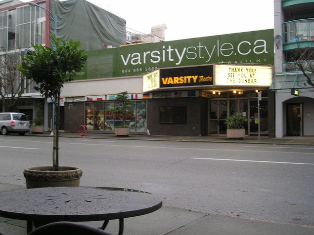 Here is a shot of the Varsity theatre with the actual ad for the condo complex that is selling,... the coolness of the Varsity as a selling point!