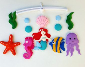 Baby mobile ocean Crib mobile Under sea baby girl by MyMagicFelt