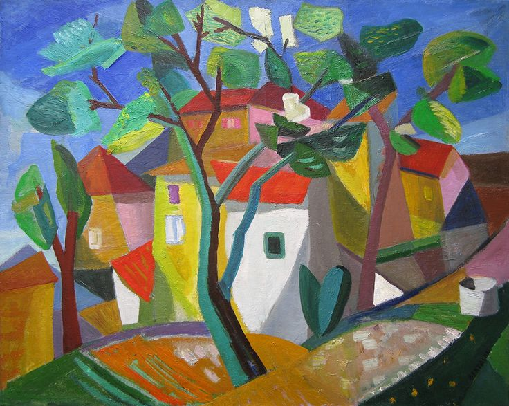 'Cubist House' by Albert Bertalan (1889 - 1957), oil on canvas: 81 x 101 cm, signed lower right.