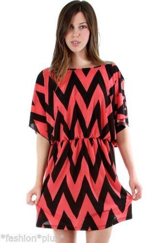 Plus Size Chevron Dress Mini Above Knee Tunic White Teal Coral TAN 18 20 22 | eBay