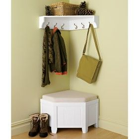 Norwalk Corner Bench and Shelf (doesn't seem to be sold anymore). This is what I want but with a shelf underneath.